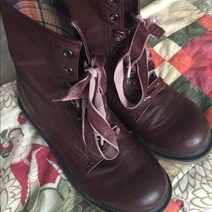 Maroon Lace-up Boots